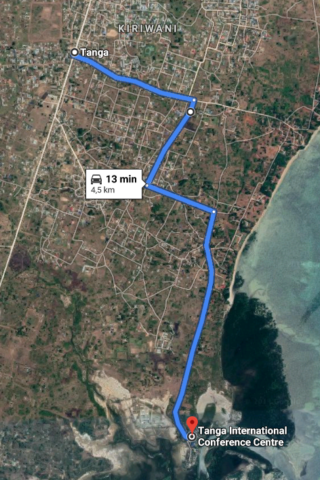 Map showing the way from Tanga to TICC